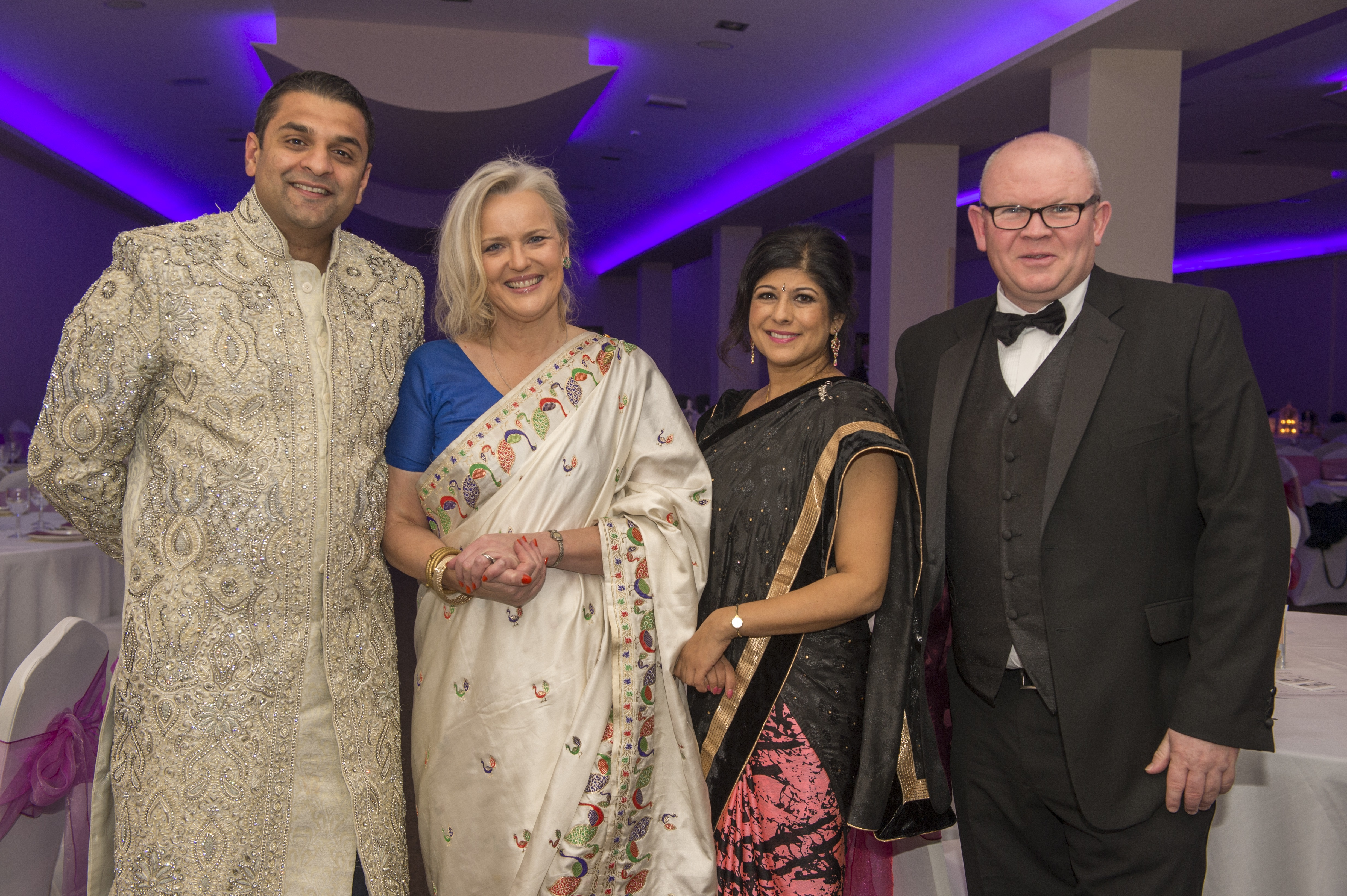 Bhayani Law Bollywood Ball held at Arooj, Attercliffe Road in Sheffield Saturday 7th November 2015 Lawyer Jay Bhayani, compere Billal Jamil,Public Speaking Academy, Kevin Elliott, Yorkshire Bank South Yorkshire Head of Business & Private Banking, Jo Davison,