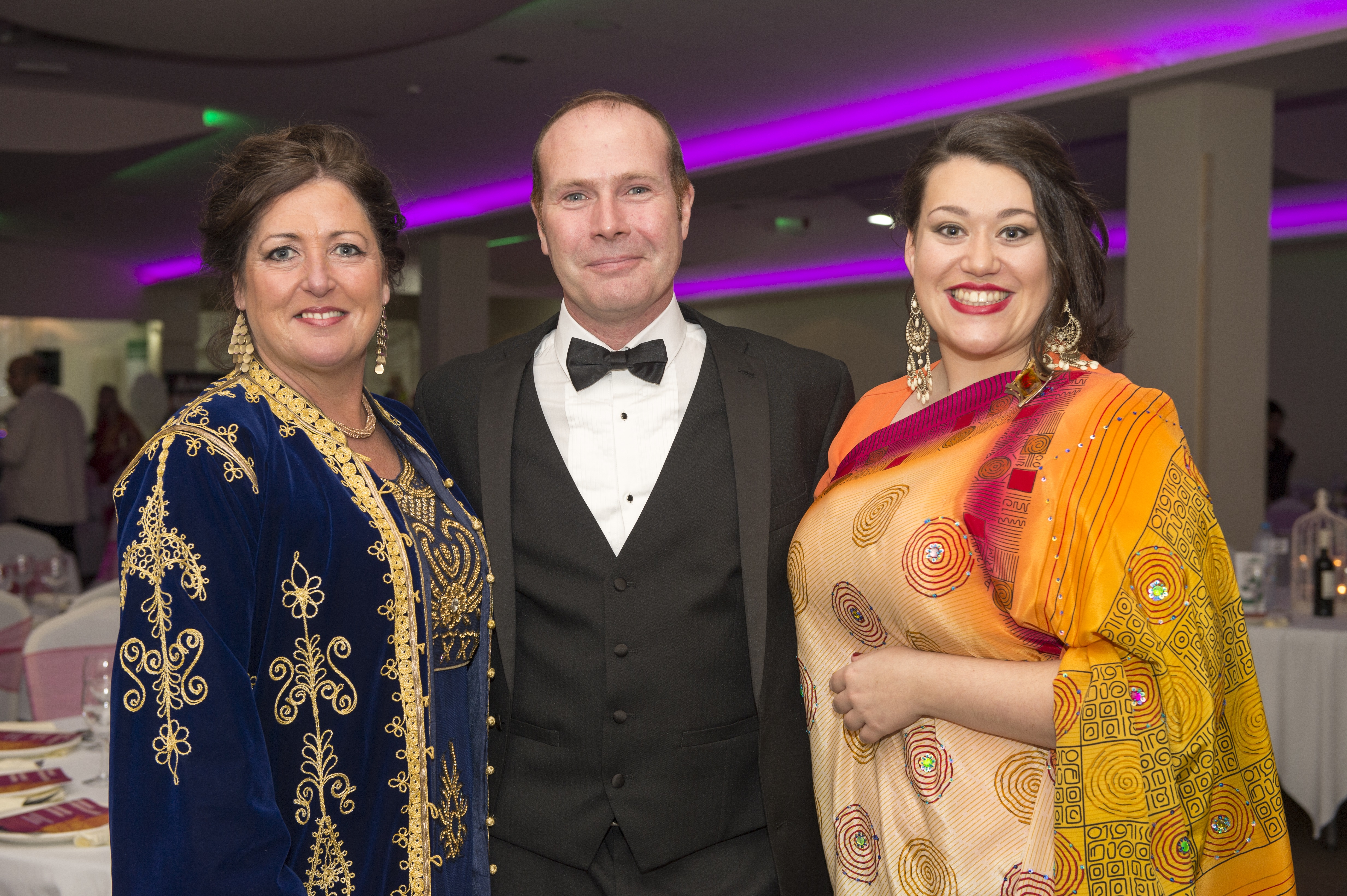 Bhayani Law Bollywood Ball held at Arooj, Attercliffe Road in Sheffield Saturday 7th November 2015 Lynn Harrison, Lady Muck Gardening, Mark Thorpe, manufacturing engineer, Kate Harrison, student