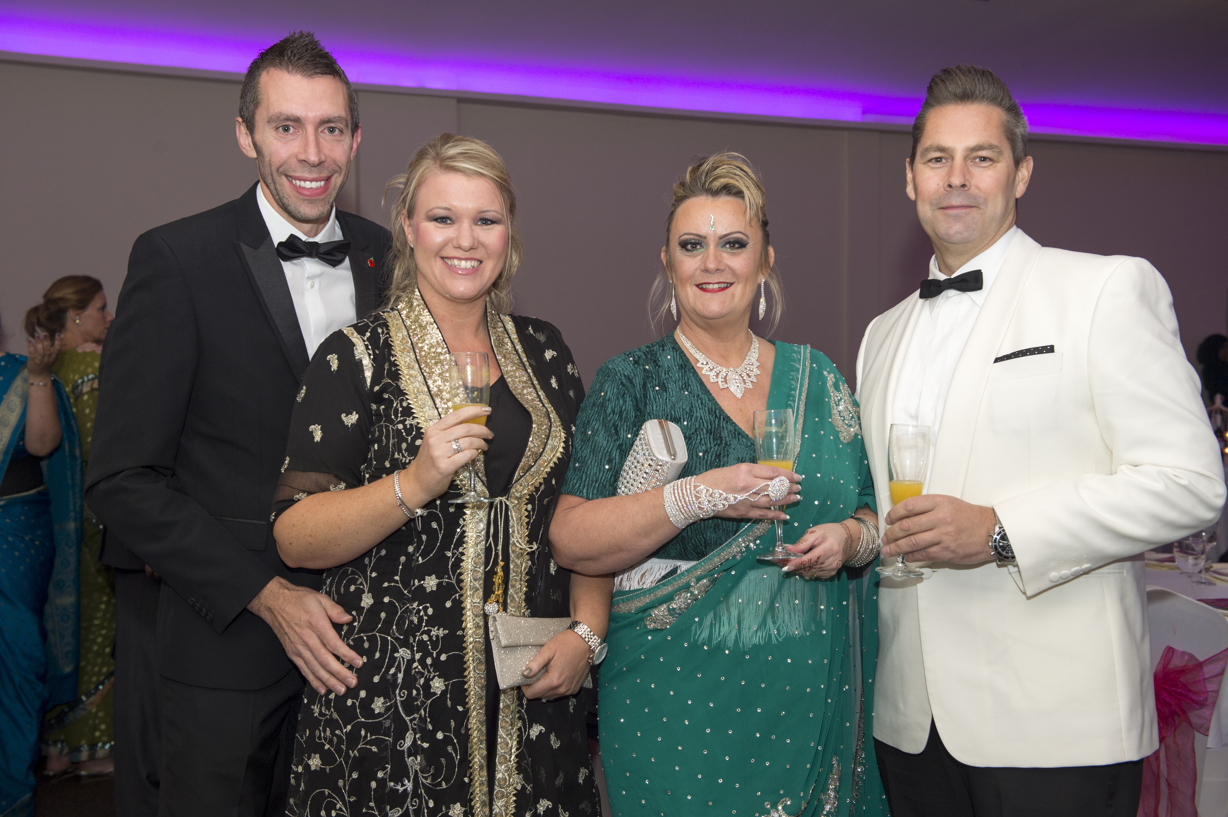 Bhayani Law Bollywood Ball held at Arooj, Attercliffe Road in Sheffield Saturday 7th November 2015 Simon Dennis, Palmer Construction MD and wife Claire Dennis, Bridget Wheatley with husband Shaun, Palmer Construction director