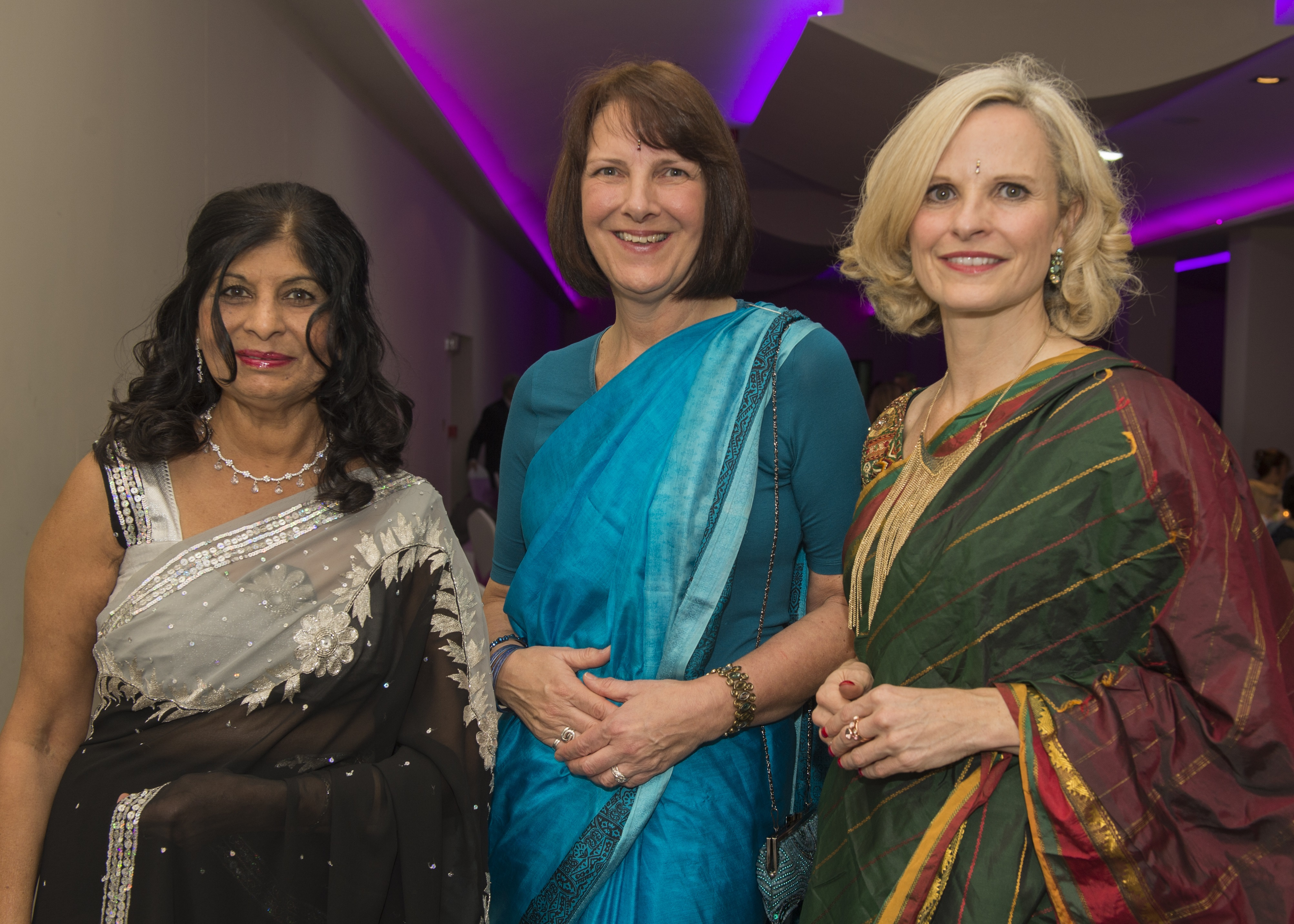 Bhayani Law Bollywood Ball held at Arooj, Attercliffe Road in Sheffield Saturday 7th November 2015 Aruna Bhayani with Bhayani Law associates Lorna Byrne and Caroline Parry