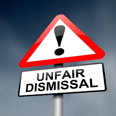 13820757 - illustration depicting a road traffic sign with an unfair dismissal cost concept. dark background.
