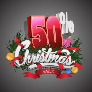 46712178 - christmas sale 50 percent on grey background