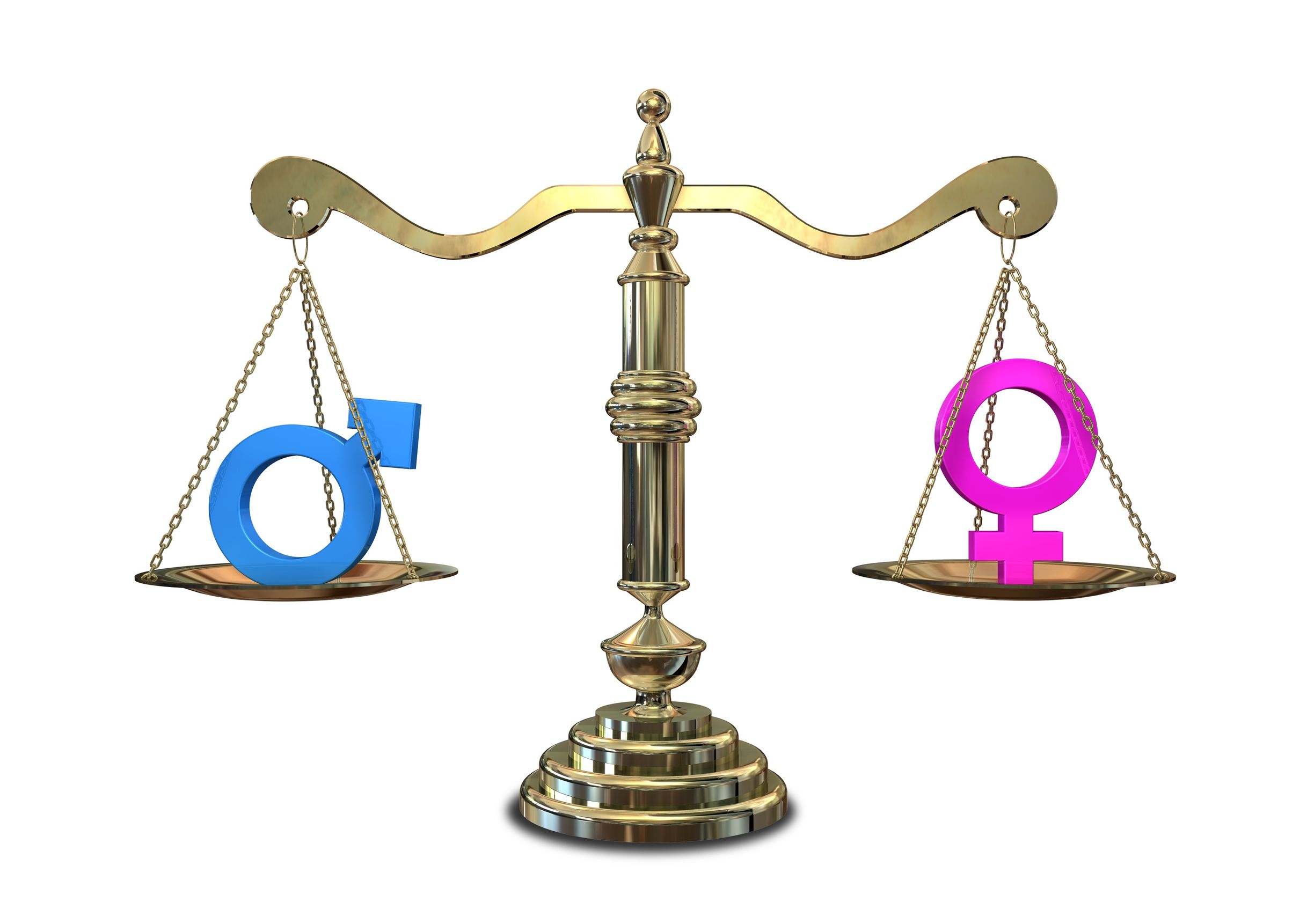14021177 - a gold justice scale with the two different gender symbols on either side balancing each other out