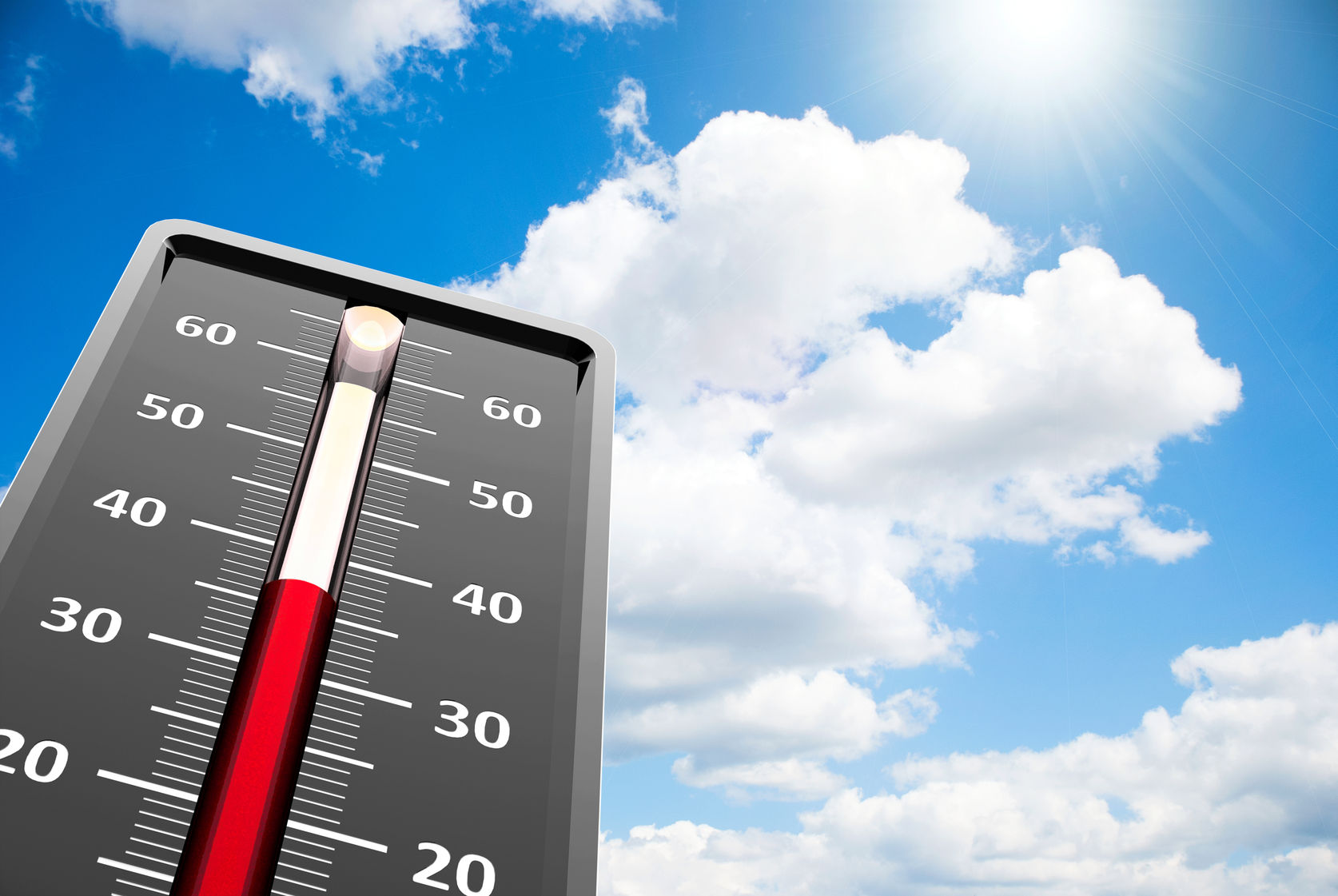44358411 - thermometer indicates high temperature on the blue sky, three-dimensional rendering
