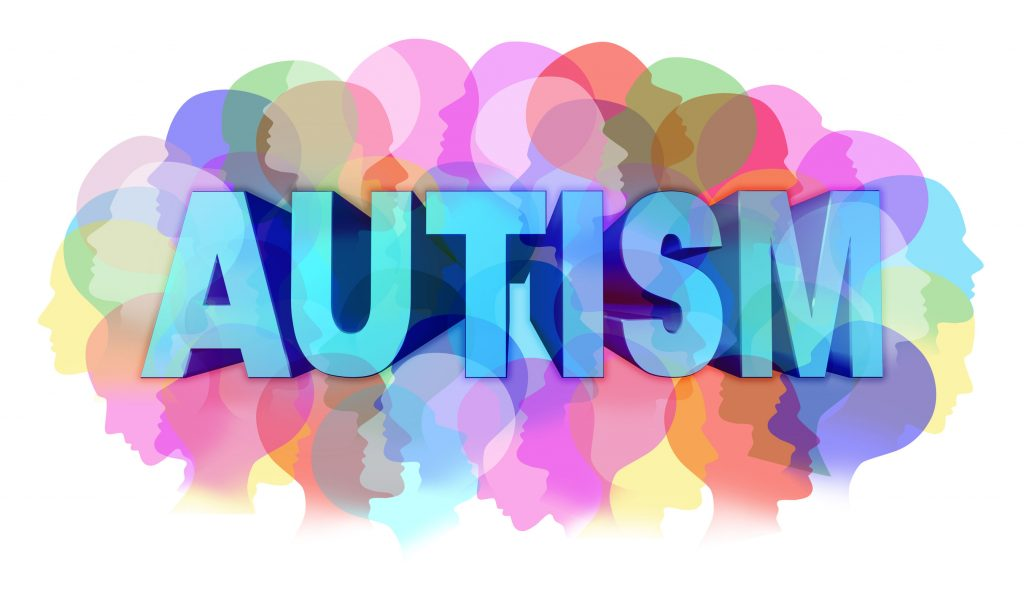Autism emplouyees text in bold bright colours.